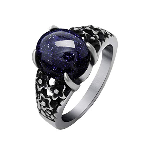- PAMTIER Unisex Classic Vintage Stainless Steel Carved Flower Pattern Oval Garnet Gemstone Ring Gothic Dragon Claw Blue Size 7