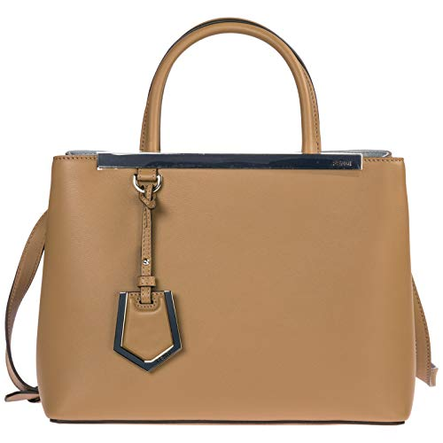 - Fendi women's leather handbag shopping bag purse petite 2jours brown