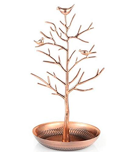 (Tinzan Birds Tree Jewelry Stand Display Earring Necklace Holder Organizer Rack Tower)
