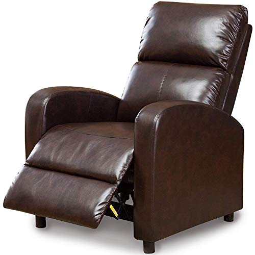 BONZY Manual Chair Modern Push Back Recliner Dark Brown