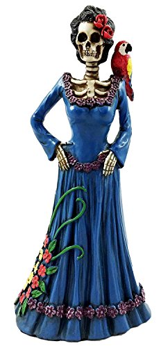 Gifts & Decor Day of The Dead Lady in Blue with Scarlet Macaw Parrot Skeleton Figurine Sculpture -