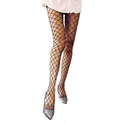 WEANMIX Lace Patterned Tights Fishnet Stockings Pattern Pantyhose 4 Pack (Black - Gold Diamond)