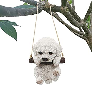 CITONG Cute Dog Statues Decorative Yard, Hanging Swing Puppy Sculpture,White