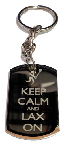 Keep Calm and Lax On Lacrosse Sports - Metal Ring Key Chain Keychain
