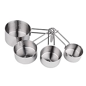IMEEA 4-Piece Premium 18/8 Stainless Steel Measuring Cups Set for Liquid, Powder and Granules