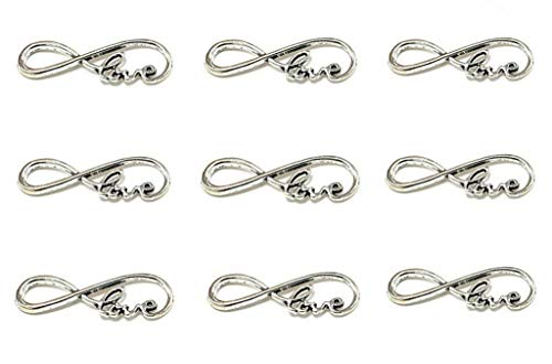 40pcs Infinity Love Symbol Connectors Charms Pendants for DIY Jewelry Making Accessories(Antique Silver) ()