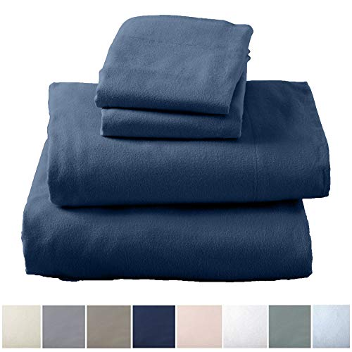 Great Bay Home Extra Soft 100% Turkish Cotton Flannel Sheet Set. Warm, Cozy, Lightweight, Luxury Winter Bed Sheets in Solid Colors. Nordic Collection Brand. (Queen, Navy)