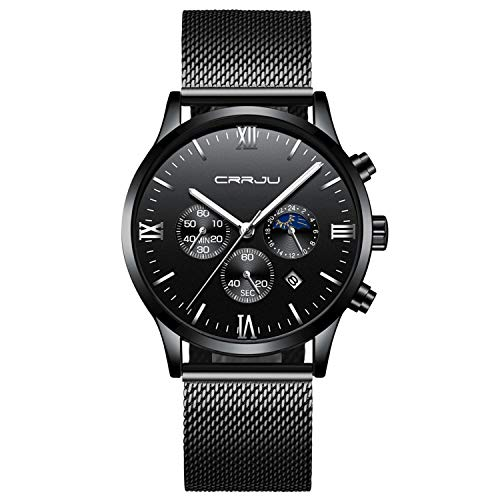 Watch Dress Chronograph Sport - Mens Watches Fashion Waterproof Stainless Steel Analog Quartz Watch Men Casual Sport Chronograph Date Dress Wristwatch - Black Silver