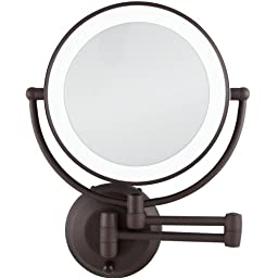 10X/1X Magnification Cordless LED Lighted Dual Sided Wall Mirror, 7-1/2 Inch, Oil-Rubbed Bronze