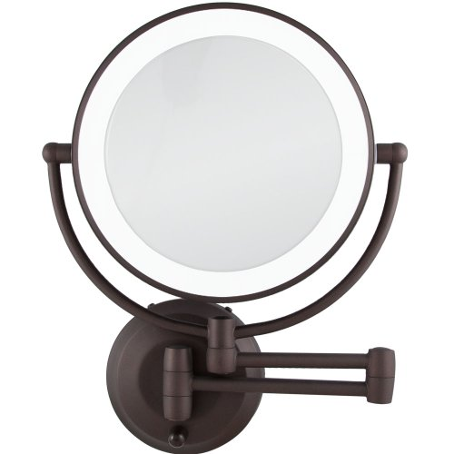 (Zadro 10X/1X Magnification Cordless LED Lighted Dual Sided Wall Mirror, 7-1/2 Inch, Oil-Rubbed Bronze )