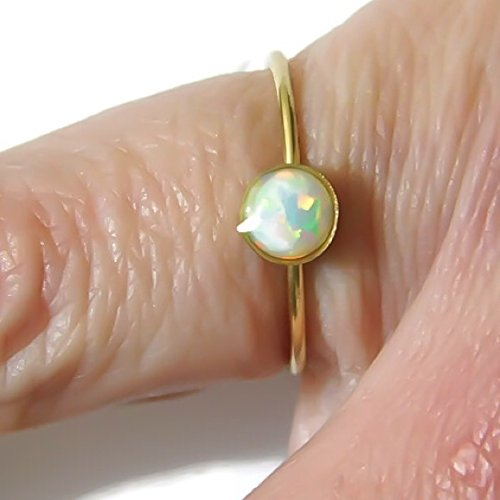 5MM Australian White Fire Opal 14K Yellow Gold Filled Ring Skinny 1MM Band Sizes 2 3 4 5 6 7 8 9 10 11 12 13