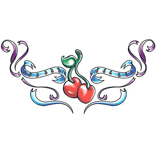 Irvint & Co Sugar Red Cherries Women Girls Temporary Tattoo Arms Hands Shoulders Back Waterproof Kids Fake Temporary Tattoos Stickers Made in USA -