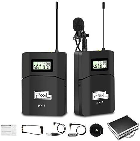 Pixel UHF Micrófono Lavalier Inalámbrico con Tiempo Real Monitor para cámara réflex Digital, videocámara, iOS Smartphone Tablet GoPro (MK-7)