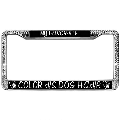 (Bling Rhinestone Crystal Dog Paw Prints License Plate Chrome Frame My Favorite Color is Dog Hair License Plate Frame Shiny Aluminum Metal Car Licenses Plate Frame)