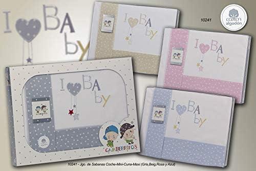 Parure de draps 3 pièces I Love Baby Gris 60 x 120 cm