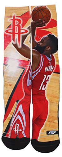 fan products of Houston Rockets 308S Center Court James Harden Mens Sublimated Socks Large