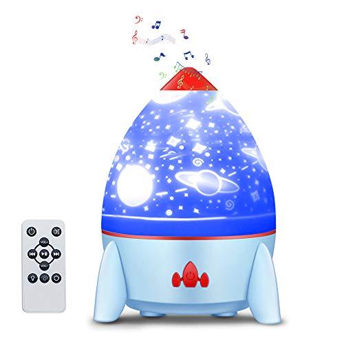Lampada Da Comodino, Piccola Lampada A Proiezione A Razzo, Lampada Da Atmosfera Rotante Con Fantasia Cielo Stellato, Usb Ricaricabile Lampada(blu)