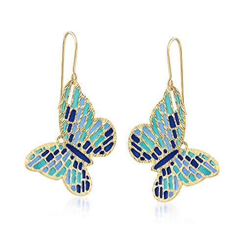 Ross-Simons Italian Cathedral Enamel Butterfly Drop Earrings in 14kt Yellow Gold