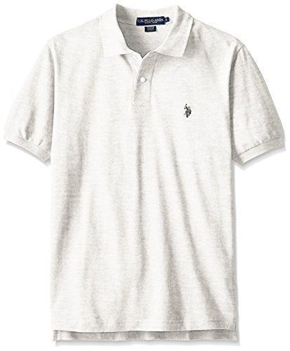 U.S. Polo Assn. Men's Solid Polo With Small Pony, Light Grey Heather, Small