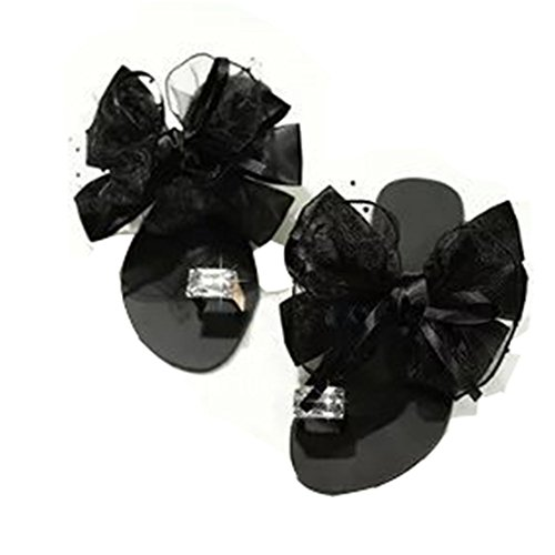 T-JULY Ladies Fashion Crystal Flowers Flat Walking Sandals Lace Personality Bowknot Diamond Clip Toe Slip on Slippers Black from T-JULY