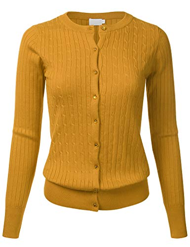 Women's Classic Gem Button Long Sleeve Crew Neck Cable Knit Fitted Cardigan Sweater Mustard S ()