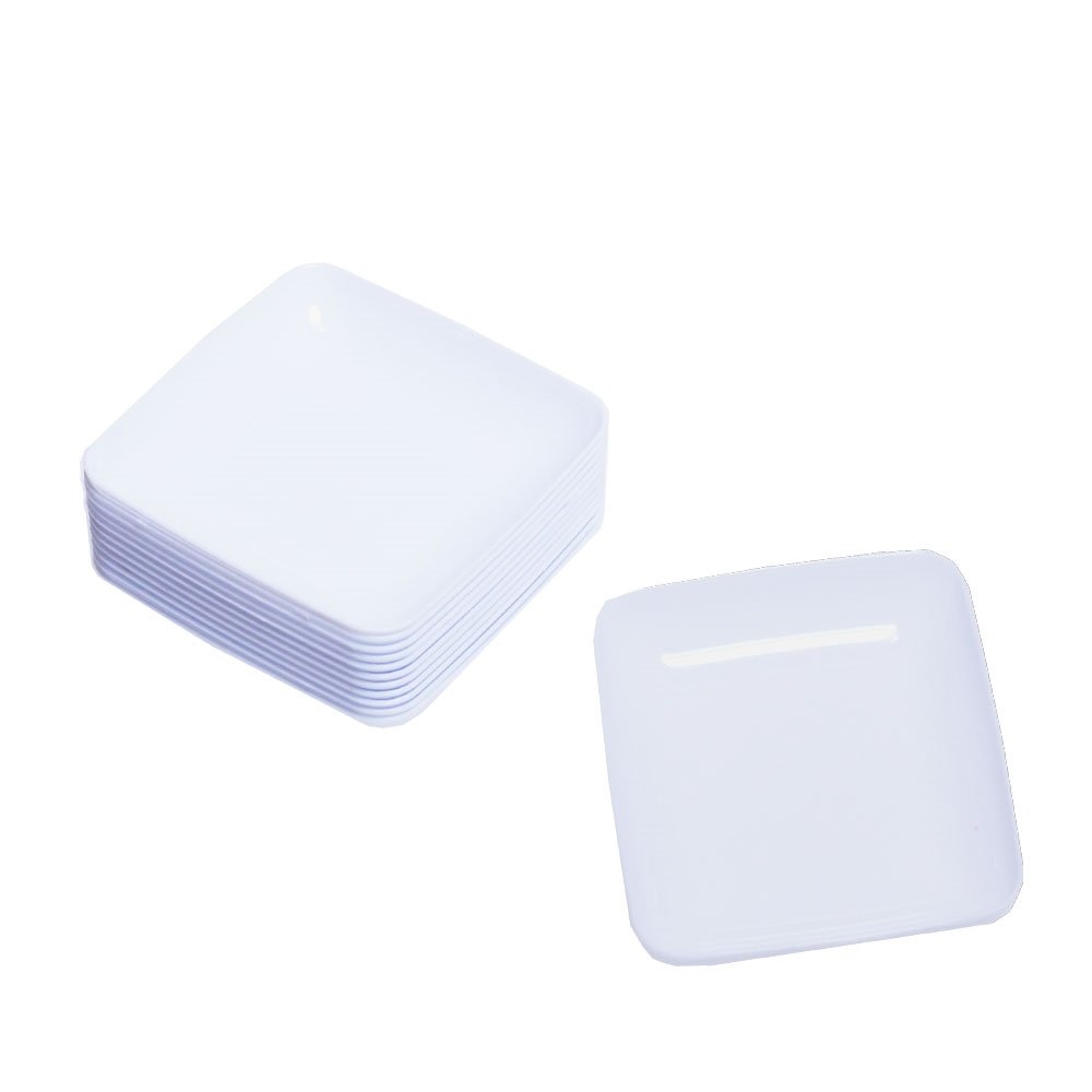 Exquisite White Plastic Mini Square Appetizer Plates - 120 Ct Square plastic Dessert Plates - 2.4 Inch. x 2.4 Inch.