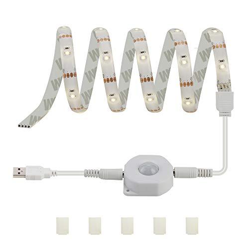 DANCRA Led Shelf Lighting USB Sensor Lights, Motion Activated Night Light led Rope Mood Light Strip, 5V/1M Flexible led Rope Lights, Accent Light for Under Bed, Stair Way, safes, Closet, Garage Shed. ()