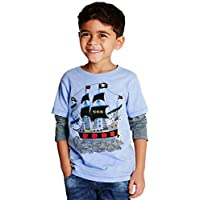 Coralup Toddler Little Boys Girls Cotton Long Sleeve T-Shirt(18 Months-8 Years)
