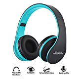 Wireless Foldable Headphones, Bluetooth Wireless/Wired Over-ear Headset Rechargeable Earphones with Built-in Mic 3.5mm Audio Jack MIC for iPhone X 8/7/6 & Desktop, PC by YINJOY (Blue)
