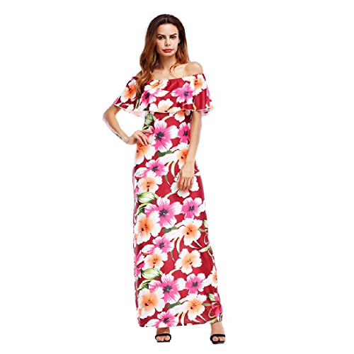 Sleeve Red Dress Size Plus Flounced Printed Coolred Bodycon Sexy Women Maxi Long xqpaSIP