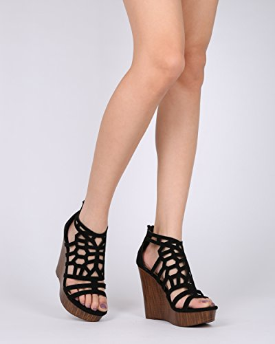 Alrisco Donna Ecopelle Scamosciata In Gabbia Ritagliata Faux Platform Zeppa In Legno - Hg94 Di Mark Maddux Collection Nero Faux Suede