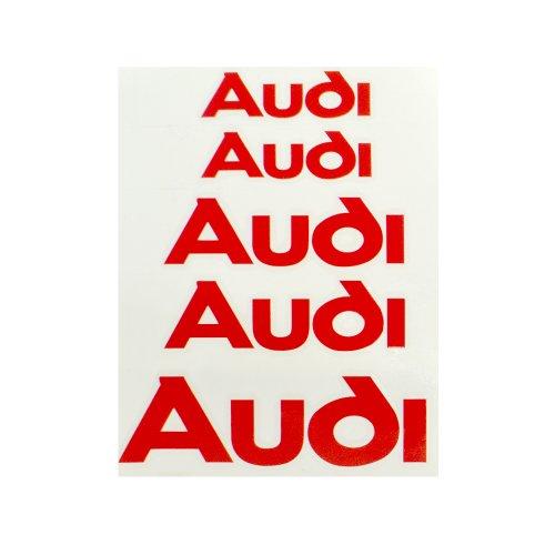 6 pcs AUDI Logo Premium Brake Caliper Decal Sticker TT A3 A4 A6 R8 S-line Quattro TD12-Red letterings