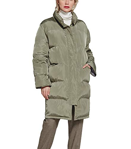 White Island Women Parka Coat Plus Size Long Thick Cotton Warm Coat Casual Standing Collar Jacket,Army Green,XXL