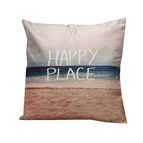 Hatop 18 x 18 inches Linen blend Ocean Theme My Happy Place Beach Sea Throw Pillow