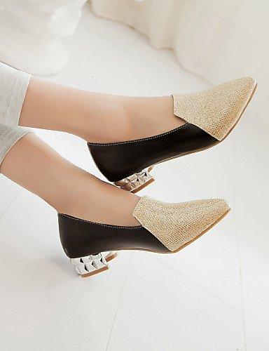 GGX/ Damen-High Heels-Büro / Lässig-PU-Blockabsatz-Komfort / Spitzschuh-Schwarz / Silber / Gold black-us6 / eu36 / uk4 / cn36