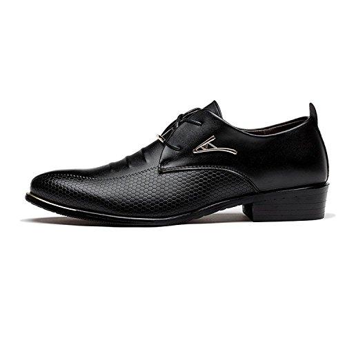 Minetom Hombres Cordones Comodidad Negro de Negocios Casual de Estilo Británico de con Boda Zapatos Oxfords Cuero Vestir de Planos 11wqp