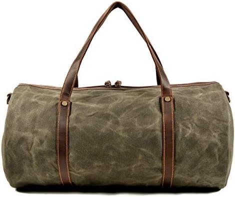 紳士ハンドバッグ ミニマルファッショントラベルダッフルバッグキャンバスバッグ週末のための男性の上で一晩バッグ防水荷物ジムスポーツショルダーバッグクロスボディバッグキャリー 便利で多用途 (色 : Khaki, Size : 52x28x28cm)