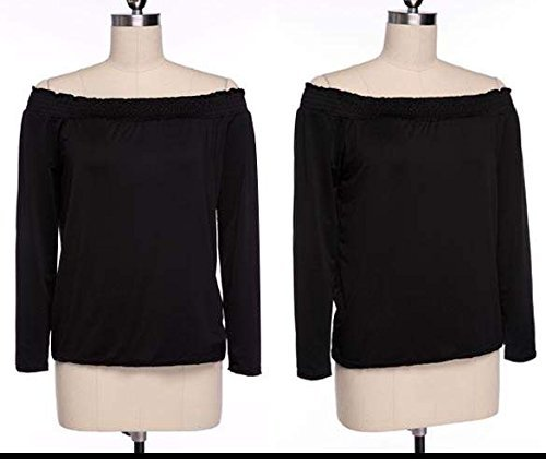 occasionnel sexy Off Parti Mode Blouse Noir T paule manches shirt Minetome fminine EqzAxAU