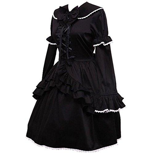 Cotton Langarm Gothisch 1 Lolita Kleid Schwarze Partiss Damen 6TSttE