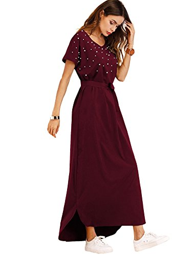 Milumia Women's Pearl Beading Belted Maxi Dress Short Sleeve V Neck Casual Shift Red Dress (Pearl V-neck)
