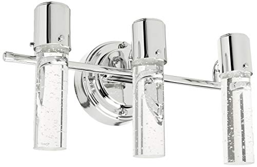 Westinghouse Lighting 6311900 Cava Three-Light LED Indoor Wall Fixture, Chrome Finish with Bubble Glass, 3 (Fixture Glass Bubble Light)