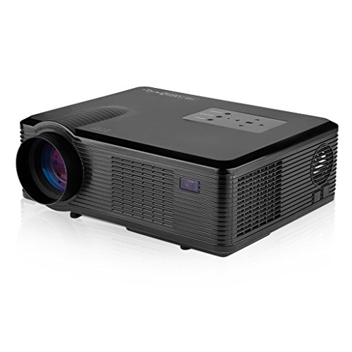 Excelvan LCD+LED Projector 800x480 Resolution, Support 1080P Built-in Speaker with Double HDMI(Support 1.1-1.4), Double USB 2.0 (Support Hard Disk), VGA (PC), YPbPr, Composite A/V, Audio out(L/R) ,Analog TV Inputs, Ideal for Home and Business(Black)