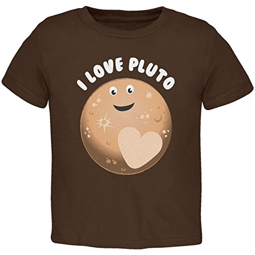 I Love Pluto Planet Brown Toddler T-Shirt - 3T by Old Glory