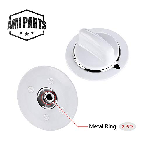WE01x20374 2 Pcs WE1M654 Timer Knob with Metal Ring for General Electric Dryer & Hotpoint Dryers - Replaces AP3995098 WE01M0443 WE1M443 ()