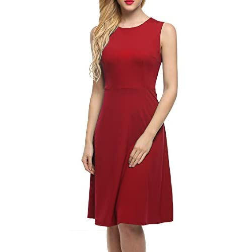 ANGVNS Women s Sleeveless Solid Fit and Flare A Line Dress 50%OFF ... bd8278568