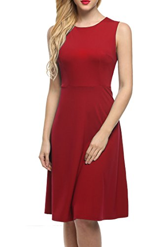 ANGVNS Womens Sleeveless Solid Flare
