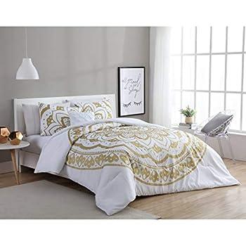 3 piece white gold medallion motif duvet cover twin xl set intricate bohemian. Black Bedroom Furniture Sets. Home Design Ideas