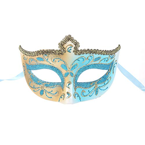 Amosfun Halloween Makeup Party Mask Crown Shape Half Face Masquerade Mask Halloween Mask Blue