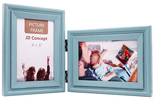 Vertical Horizontal Combo, Double 4x6 inch Painted Soft-blue Wood Hinged Photo Picture Frame, Portrait and Landscape View Decorate Desktop or Wall Hanging