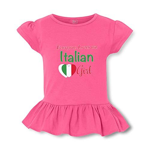 Everyone Loves an Italian Girl Short Sleeve Toddler Cotton Girly T-Shirt Tee - Hot Pink, X Small